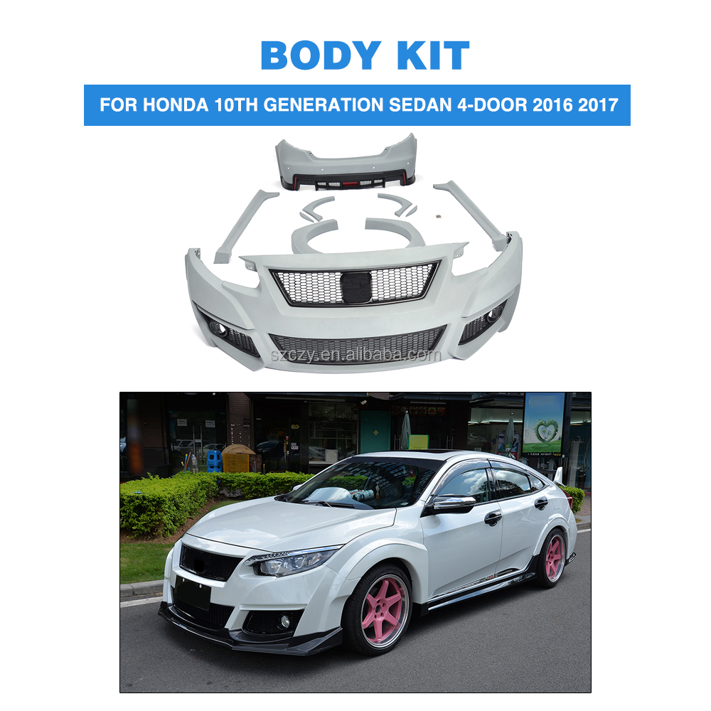 PU Car Bumper Body Kit for Honda Civic 10th Generation Sedan 4-Door 2016 2017