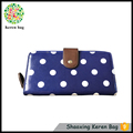 KEREN blue and white polka dot polyester canvas fabric wallet bag