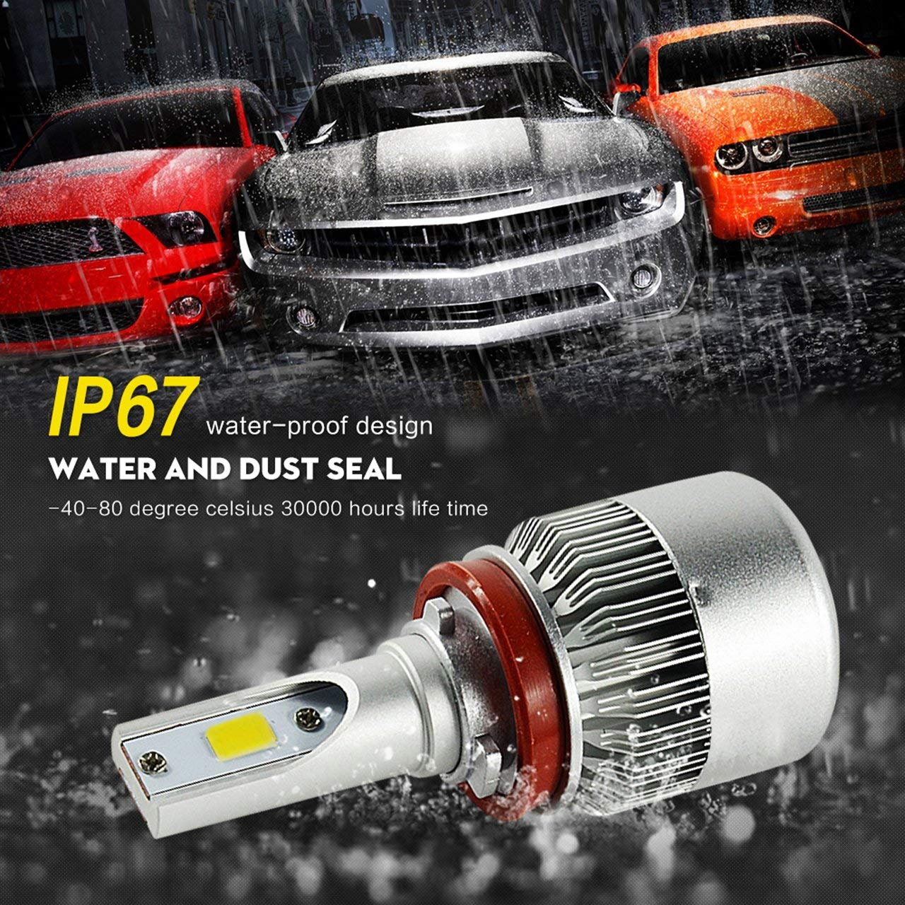 Factory direct sales 36W 3800LM 6000K Pure White C6 led headlight bulb H4