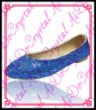Aidocrystal custom make plus size hot sell flat Blue crystals bridal wedding shoes evenig shoes