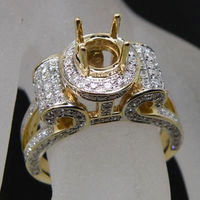 Jewelry Sets Round 6mm 14Kt Yellow Gold Diamond Setting Engagement Semi Mount Ring For Fine Jewelry Wholesale YWR00103