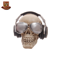 Decorative skull ornament piggy bank resin skull money box with headphones and sunglasses