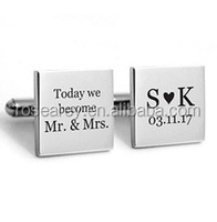 Personalised Wedding Groom Cuff Links Custom Initials And Date, Wholesale men jewelry cufflinks
