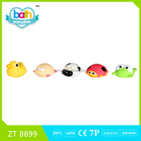 2016New !Eco-friendly PVC Funny duck+pig+cow+ladybird+florg bath learning plush toys for kids ZT8899