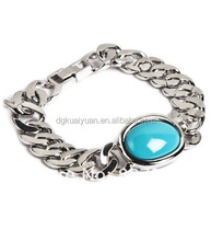 Wholesale high polished stainless steel salman khan bracelet with blue gemstone