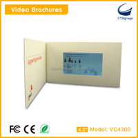 "CTSignage VC4300-B smart slim folding 4.3""lcd tft screen usb video greeting album,magnetic switch on/off customized size"