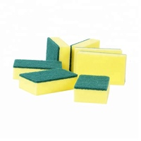 new style square kitchen wash sponge with green scouring pad