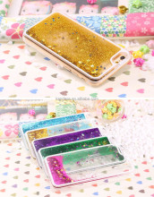 Transparent Dynamic Liquid Glitter Fish Paillette Dolphins Quicksand Cover For Iphone 4 4S Hourglass Case With Stars