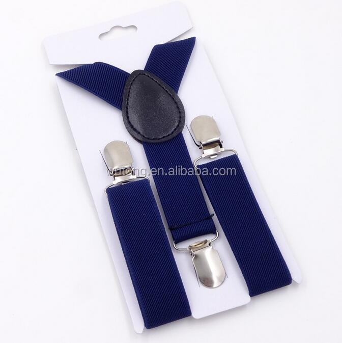 High Elastic Navy Blue Kids Suspenders Boy Girls 3 Clips Suspenders Children Clothing Accessories Clip-on Braces