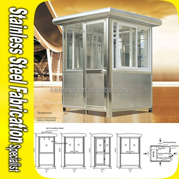 Outdoor Steady Stainless Steel Security Booth Prefabricated Kiosk