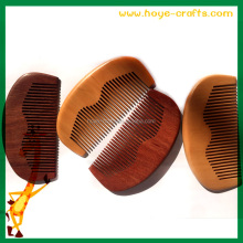 Custom beard comb men used wooden beard and moustache comb