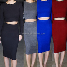 F40784A Wholesale women wear dresses knitted plus size dresses for women