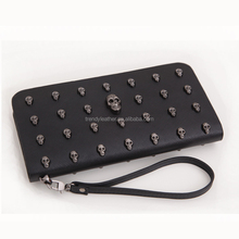 Fashion unisex leather long skull wallet wholesale