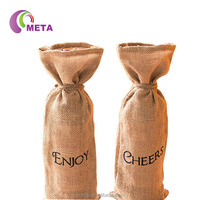 Wholesale Promotional Custom Natural Jute Burlap Wine Packaging Bags