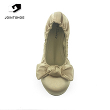 Low price New Arrival Golden Stain Upper ballerina shoes with bowknot