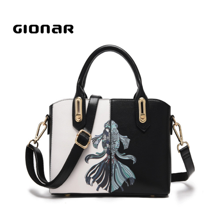 Gionar Brand Pretty Goldfish Art Printing Women Work Tote Bags