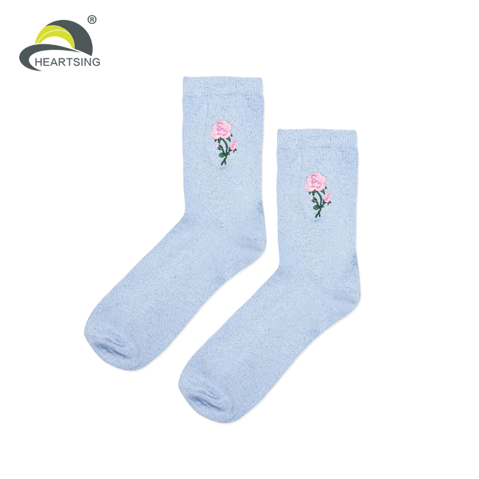 cheap wholesale custom embroidered socks women