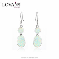 925 Silver Jewelry Importers White Opal Stone Ladies Earrings Designs Pictures SEI029W-B