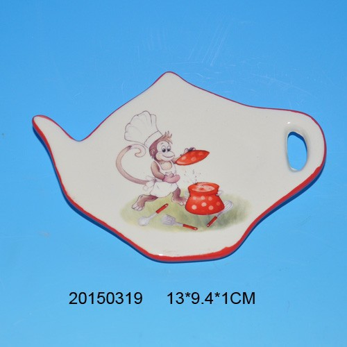 2016 lovely cooking monkey design ceramic tea bag holder for tableware