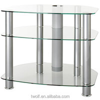 Tv Hot Selling Best Price Tempered Glass Three Tiers With Wheel Moving Tv Stand/tv Table/tv Cabinet