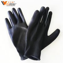 black nylon safety nitrile gloves poly cotton knitted working gloves