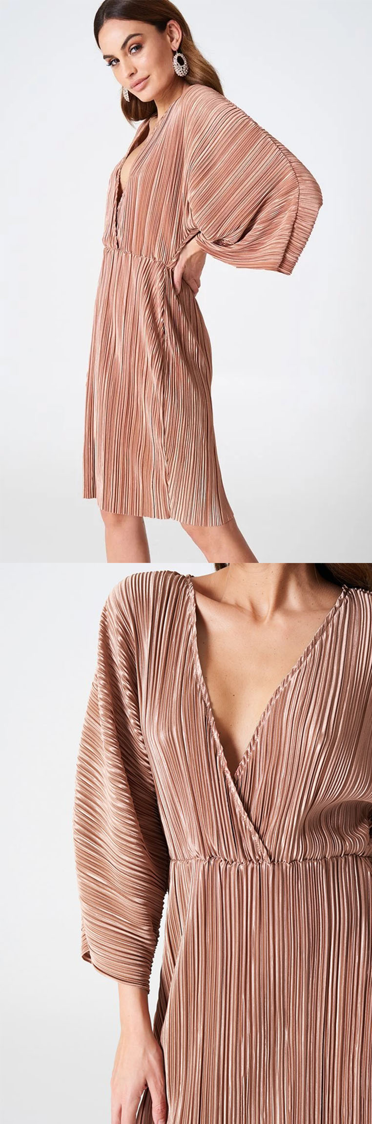 Women 2018 Trendy Summer Pleated Kimono Dress