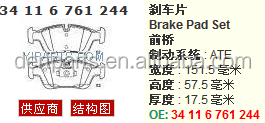 34 11 6 761 244/34 11 2 282 995 best price and high quanlity Brake pad FOR BMW E46 M3