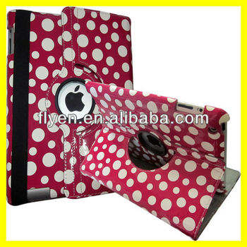 Polka Dots Rotating Leather Case for iPad 4 3 2 Magnetic Smart Cover Wholesale Cheap Lot Customzied Cases Covers for ipad Hot Pi
