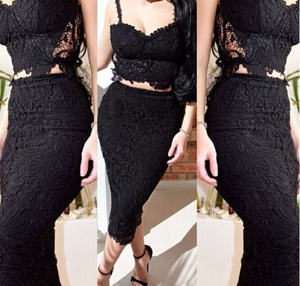 Instyles C84688A hot sale women sexy bandage lace dress/2 pieces fashion party dress boutique
