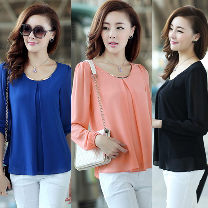 New fashion 2014 Chiffon Women Blouse Fashion OL Shirts Long Sleeve Spring Women Work Wear Blouses 4 colors plus size SV001416