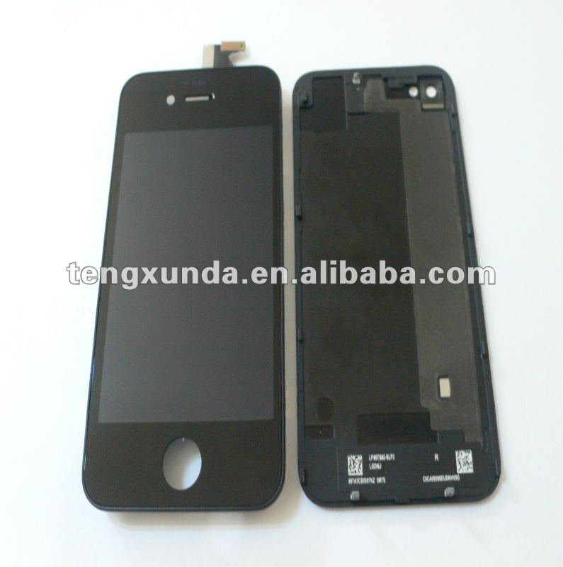 Black color full set for iphone 4s LCD screen with digiziger and back cover