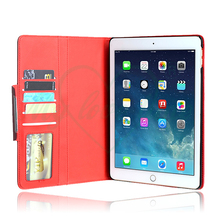 Red PU Leather Book Folio Tablet Case Cover for iPad Air 2/6