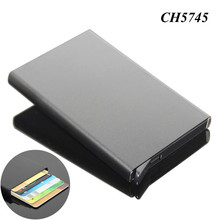 Wholesale Black Color Promotional Gift Business Name Card Holder Aluminum Pop Up Automatic Metal Card Holder
