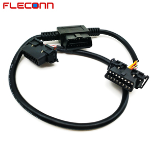 16 pin Male to 2 Female T Shape OBD II OBD2 Adapter Cable Harness