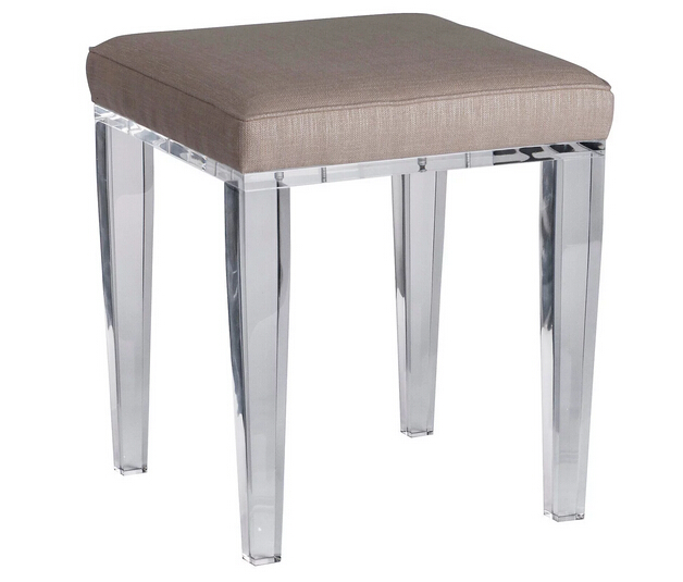 modern square acrylic bathroom vanity stool with cushion