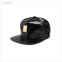 OEM 5 panel hat high quality snakeskin leather brim snapback hat/cap snap back with custom logo on front