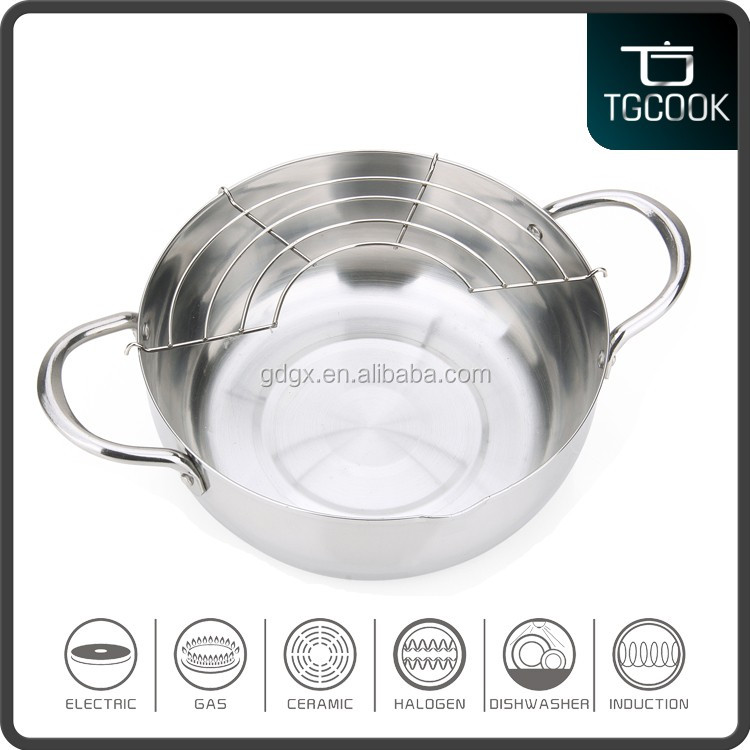 Stainless steel 28cm cooking pot with spring and sauce pan with factory price