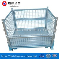 Iso 9001 certificated steel pallet box rigid wire mesh aluminum log crate