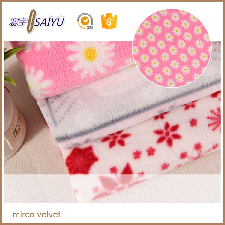 factory wholesale custom printed polar fleece fabric for blanker with small flower in the market