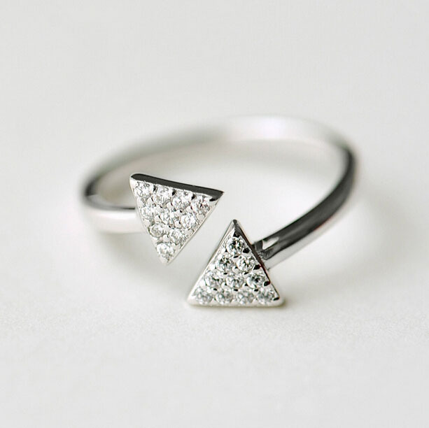 Fashion design Plain Silver Arrow Ring 925 Sterling Silver Stackable Arrow Ring