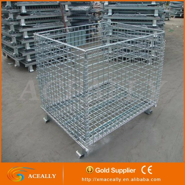 Storage Wire Mesh Pallet Cage with Wheels-rolling cart