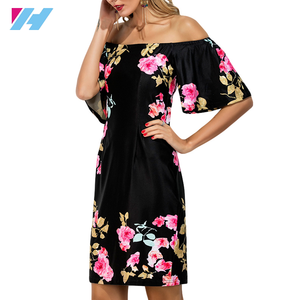High quality printing black beach dress short sleeve off shoulder summer lady dresses