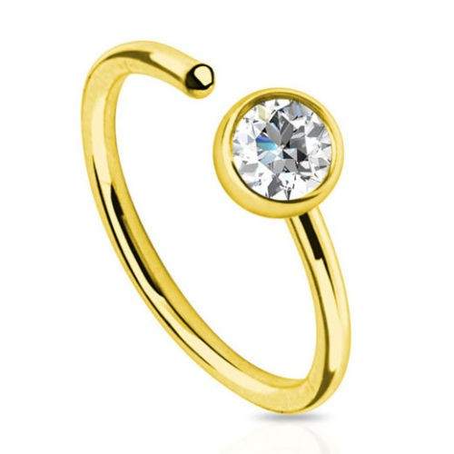 Wholesale gold circle nose ring with clear gem body piercing