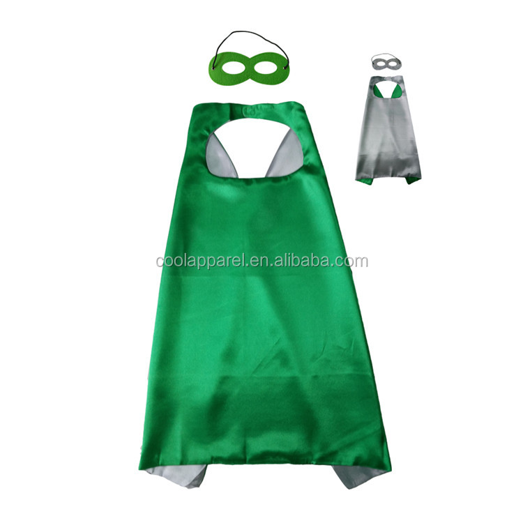 Factory price satin double layer superheros cape for kids