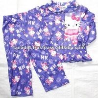 Cute kitty long set sleepwear for Children's girls 2012