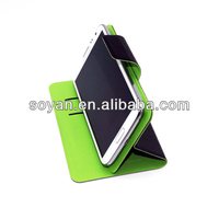 2013 Newest PU Leather cases, 360 rotating leather cover with magic sticker for various mobile phone with stand function