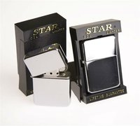 Wholesale Plain Star Petrol / Oil Lighters in Black Display Box