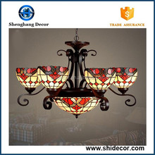 Antique rose pattern tiffany style glass lamp made in china hot sale flower tiffany lamp