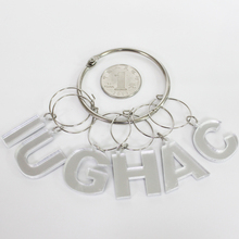 new designed alphabet acrylic wine glass charm