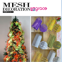 creative christmas decorative mesh ribbon for christmas decoration tree